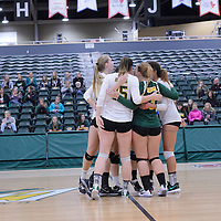 Cougars post celebration during the Women's Volleyball Home Game vs Trinity Western  on October 28 at the CKHS University of Regina. Credit Matt Johnson/Arthur Images