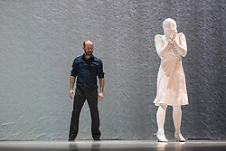 © Licensed to London News Pictures. 25/4/2014. For its first visit to Sadler's Wells since debuting in 2009, Crystal Pite's Kidd Pivot company presents its latest work, The Tempest Replica. Based on motifs from Shakespeare's The Tempest, Pite stages a game of revenge and forgiveness; reality and imagination, exploring these themes in two contexts. Picture shows Eric Beauchesne & Cindy Salgado. Photo credit: Tony Nandi/LNP