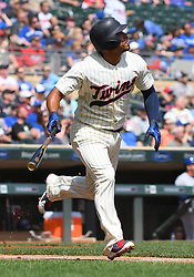 May 2, 2018 - Minneapolis, MN, U.S. - MINNEAPOLIS, MN - MAY 02: Minnesota Twins Infield Eduardo Escobar (5) runs to 1st during a MLB game between the Minnesota Twins and Toronto Blue Jays on May 2, 2018 at Target Field in Minneapolis, MN.The Twins defeated the Blue Jays 4-0.(Photo by Nick Wosika/Icon Sportswire) (Credit Image: © Nick Wosika/Icon SMI via ZUMA Press)