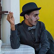 Street performer, San Sebastian Festival. Old San Juan, Puerto Rico. USA.