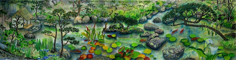 "Sumi-ink and watercolor on rice paper, two sheets, combined dim. 23 x 88""<br>Based on a real Japanese Pond at an Oakland residence, this painting incorporates rocks, bonsai trees, a hut backed by a cluster of bamboo, water lilies and other water plants, fish and an egret."
