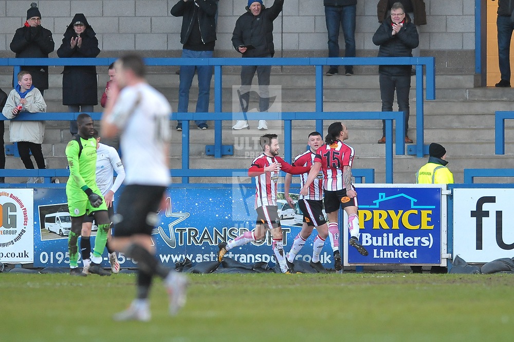 TELFORD COPYRIGHT MIKE SHERIDAN GOAL. Lewis Walters of Altrincham celebrates after scoring to make it 1-1 during the Vanarama Conference North fixture between AFC Telford United and Altrincham at The New Bucks Head on Saturday, February 1, 2020.<br /> <br /> Picture credit: Mike Sheridan/Ultrapress<br /> <br /> MS201920-044