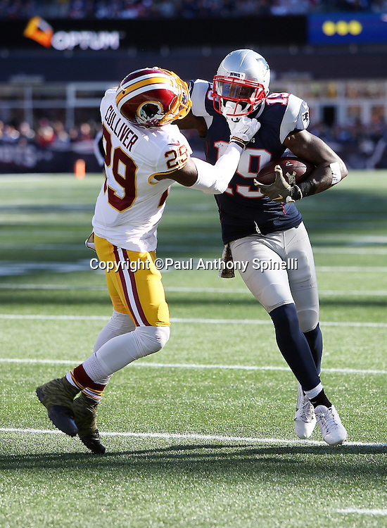 New England Patriots wide receiver Brandon LaFell (19) straight arms Washington Redskins cornerback Chris Culliver (29) after catching a first quarter pass for a 7 yard gain in the Redskins red zone during the 2015 week 9 regular season NFL football game against the Washington Redskins on Sunday, Nov. 8, 2015 in Foxborough, Mass. The Patriots won the game 27-10. (©Paul Anthony Spinelli)