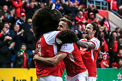 Will Vaulks of Rotherham United and Ryan Williams of Rotherham United celebrate with the Rotherham United mascot Miller Bear - Mandatory by-line: Ryan Crockett/JMP - 16/05/2018 - FOOTBALL - Aesseal New York Stadium - Rotherham, England - Rotherham United v Scunthorpe United - Sky Bet League One Play-Off Semi Final