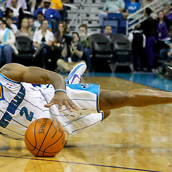 January 16, 2012; New Orleans, LA, USA; New Orleans Hornets point guard Jarrett Jack (2) slips as he drives with the ball against the Portland Trail Blazers during the first quarter of a game at the New Orleans Arena.   Mandatory Credit: Derick E. Hingle-US PRESSWIRE