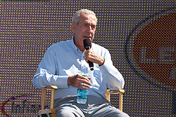 June 26, 2011; Sonoma, CA, USA;  NASCAR hall of fame member Ned Jarrett talks to fans before the Toyota/Save Mart 350 at Infineon Raceway.