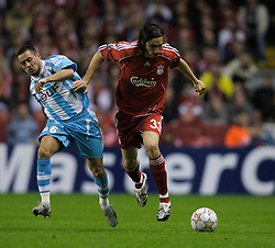 Liverpool, England - Wednesday, October 3, 2007: Liverpool's Sebastian Leto and Olympique de Marseille's Karim Ziani during the UEFA Champions League Group A match at Anfield. (Photo by David Rawcliffe/Propaganda)