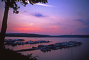 Sunset and docks on Lake Wallenpaupack, Pennsylvania