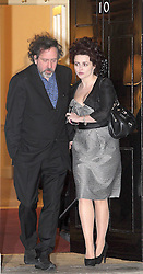 ©London News pictures. 21.02.2011. Helena Bonham Carter and Tim Burton leave an event at No 10 Downing Street hosted by Prime Minister's wife Samantha Cameron to celebrate the UK's fashion industry. Picture Credit should read Carmen Valino/LNP