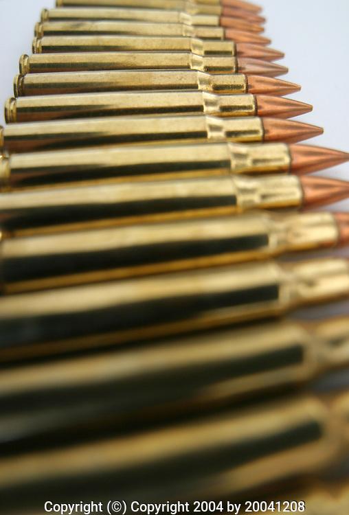 Dec 08, 2004; Los Angeles, CA, USA;  Rifle cartridges, bullets.