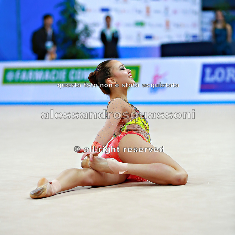 Son Yeon Jae during qualifying  at clubs in Pesaro World Cup 02 April 2016. Yeon Jae is an Korean individual rhythmic gymnast, she was born  28 May, 1994 Seoul, Republic of Korea. After the 2016 Olympic Games Son decided to stop the competitive activity.