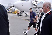 Neymar da Silva Santos Junior  from Barcelona while arrived on Lech Walesa Airport in Gdansk, Poland.<br /> A few hours before friendly match between Lechia Gdansk and FC Barcelona.<br /> <br /> Poland, Gdansk, July 30, 2013<br /> <br /> Picture also available in RAW (NEF) or TIFF format on special request.<br /> <br /> For editorial use only. Any commercial or promotional use requires permission.<br /> <br /> Photo by &copy; Adam Nurkiewicz / Mediasport