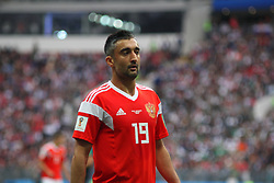 June 14, 2018 - Moscow, Russia - Russian Federation. Moscow. The Luzhniki Stadium. Match Opening of the World Cup 2018. Russia - Saudi Arabia. Solemn opening ceremony of the FIFA World Cup 2018. FIFA World Cup 2018. Player of the Russian national football team (in red) Alexander Samedov. (Credit Image: © Russian Look via ZUMA Wire)