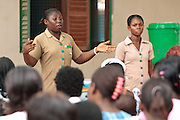 Ghana: 25 April 2012, A nurse speaks to women about vaccination and nutrition at the Dodowa new town health outreach point in Dodowa.The GAVI Alliance is a public-private partnership that brings together developing country and donor governments, WHO, UNICEF, the World Bank, the vaccine industry in both industrialised and developing countries, research and technical agencies, civil society, the Bill & Melinda Gates Foundation and other private philanthropists.  Set up in 2000 as the Global Alliance for Vaccines and Immunisation, GAVI's mission is to save children's lives and protect people's health by increasing access to immunisation in the world's poorest countries.