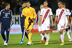 24.09.2014, Voith Arena, Heidenheim, GER, 2. FBL, 1. FC Heidenheim vs 1. FC Nuernberg, 7. Runde, im Bild Raphael Schaefer ( 1.FC Nuernberg ) Niklas Stark ( 1.FC Nuernberg ) Manuel Bihr ( 1.FC Nuernberg ) nach der Niederlage // during the 2nd German Bundesliga 7th round match between 1. FC Heidenheim and 1. FC Nuernberg at the Voith Arena in Heidenheim, Germany on 2014/09/24. EXPA Pictures © 2014, PhotoCredit: EXPA/ Eibner-Pressefoto/ Langer<br /> <br /> *****ATTENTION - OUT of GER*****