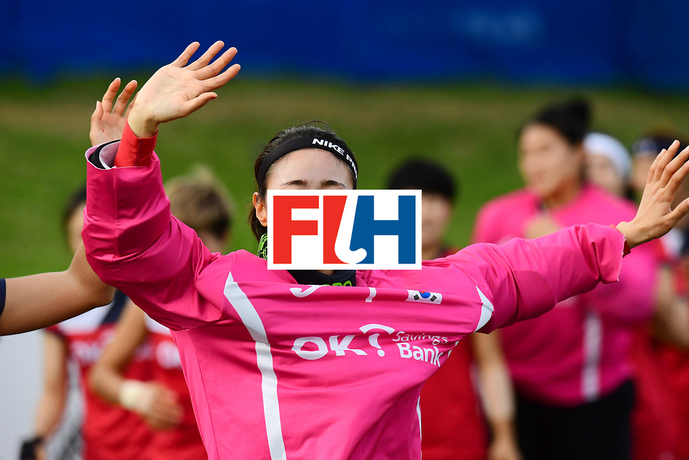 AUCKLAND - Sentinel Hockey World League final women<br /> Match id 10321<br /> Korea v England Bronze<br /> Foto:  Soo Ji Jang (Gk) ceremony <br /> WORLDSPORTPICS COPYRIGHT FRANK UIJLENBROEK