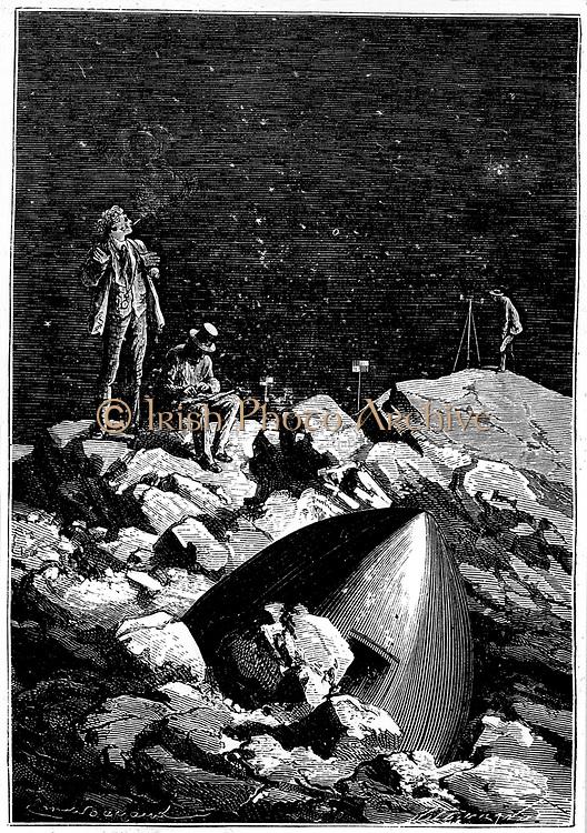 The astronauts surveying the Moon. From Jules Verne 'Autour de la Lune', Paris, 1865. Wood engraving.