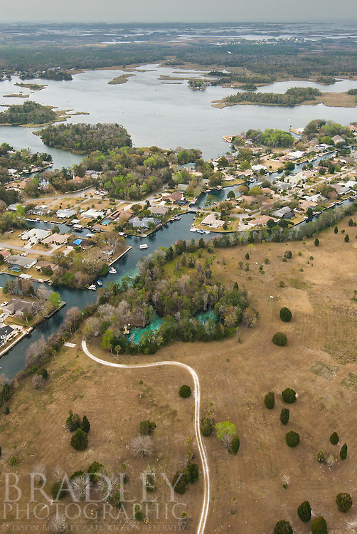 An aerial view of Three Sisters.  A popular manatee sanctuary.