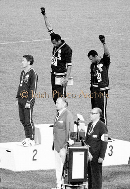 The Black Power salute was a  human rights protest and one of the most overtly political statements in the 110 year history of the modern Olympic Games.  African American athletes Tommie Smith and John Carlos performed their Black Power salute at the 1968 Summer Olympics in Mexico City.