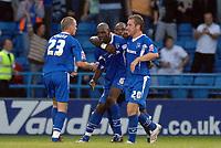 Photo: Ashley Pickering.<br /> Gillingham v Leeds United. Coca Cola League 1. 29/09/2007.<br /> Ian Cox of Gillingham (no. 6) celebrates scoring the equaliser with team mates