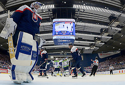 Jan Mursak of Slovenia, Jan Urbas of Slovenia and Ales Kranjc of Slovenia celebrate after scoring first goal during Ice Hockey match between Slovakia and Slovenia at Day 5 in Group B of 2015 IIHF World Championship, on May 5, 2015 in CEZ Arena, Ostrava, Czech Republic. Photo by Vid Ponikvar / Sportida
