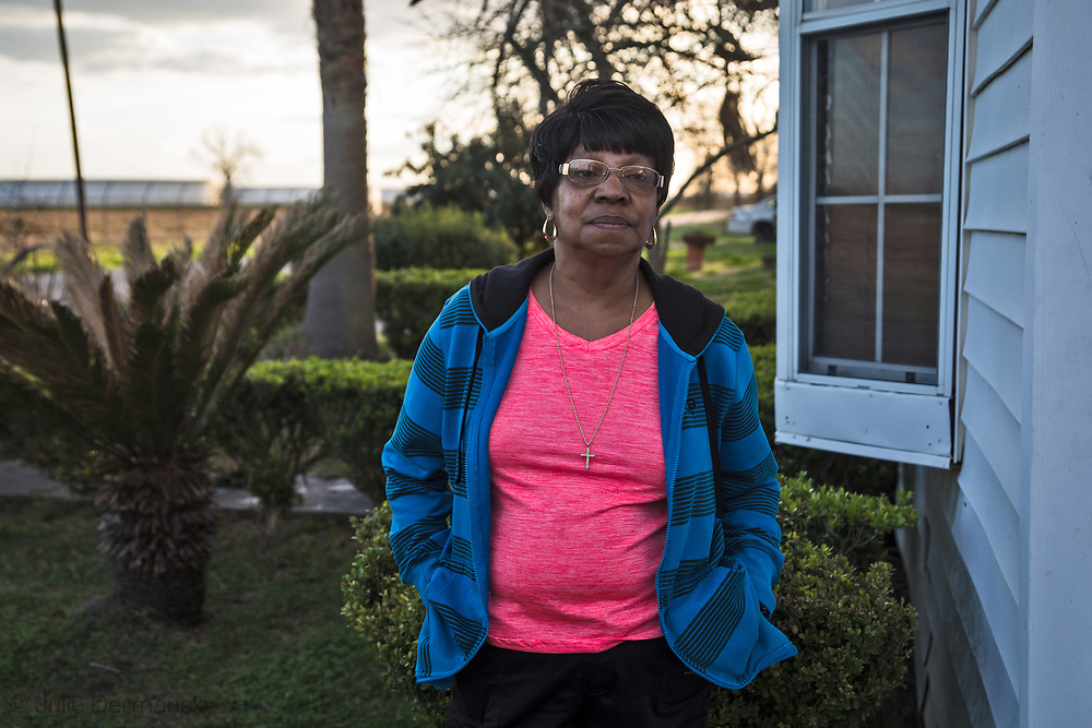 Geraldine Mayho in front of her home on Burton Street in St. James, Louisiana. The Bayou Bridge pipeline ends in St. James.