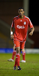 WARRINGTON, ENGLAND - Saturday, March 1, 2008: Liverpool's Damien Plessis in action against Bolton Wanderers during the FA Premiership Reserves League (Northern Division) match at the Halliwell Jones Stadium. (Photo by David Rawcliffe/Propaganda)