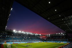 General View of a red sky as the sun sets over Villa Park after the match - Mandatory byline: Rogan Thomson/JMP - 13/03/2016 - FOOTBALL - Villa Park Stadium - Birmingham, England - Aston Villa v Tottenham Hotspur - Barclays Premier League.