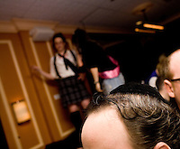 March 22nd 2008. Havana Central, New York, NY. Jewish Costume Purim Party at Havana Central at the West End, 2991 Broadway (113th street). Girls in the background dancing on the tables. Party organized by twin brothers Seth and Isaac Galena, from bangitout.com, a jewish humour website.<br /> <br /> Reporter: Bleyer,Jennifer: 917-279-2078<br /> email: bleyer@nytimes.com<br /> ©2008 Gianni Cipriano<br /> cell. +1 646 465 2168 (USA)<br /> cell. +1 328 567 7923 (Italy)<br /> gianni@giannicipriano.com<br /> www.giannicipriano.com