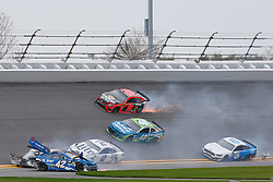 February 10, 2019 - Daytona, FL, U.S. - DAYTONA, FL - FEBRUARY 10: Kyle Larson, driver of the #42 Credit One Bank Chevy, Brad Keselowski, driver of the #2 Miller Lite Ford, Jamie McMurray, driver of the #40 AdventHealth Chevy, Martin Truex Jr., driver of the #19 Bass Pro Shops/Tracker ATVs Toyota, and Ryan Newman, driver of the #6 Wyndham Rewards Ford, all involved in a crash during the Advance Auto Parts Clash on February 10, 2019 at Daytona International Speedway in Daytona Beach, FL. (Photo by David Rosenblum/Icon Sportswire) (Credit Image: © David Rosenblum/Icon SMI via ZUMA Press)