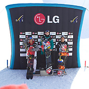 Men's Half Pipe winner Janne Korpi, Finland (centre) first place. Yiwei Zhang, China, (left) second place. Dimi De Jong, The Netherlands, (right) third place,  during the Half Pipe Finals in the LG Snowboard FIS World Cup, during the Winter Games at Cardrona, Wanaka, New Zealand, 28th August 2011. Photo Tim Clayton.