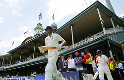 England's Alastair Cook and Mark Stoneman walk out to bat during day four of the Ashes Test match at Sydney Cricket Ground.