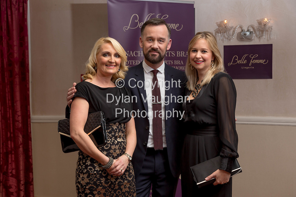 Repro free no charge for repro<br /> <br /> 27/11/14<br /> &lsquo;Get Fitted for Christmas&rsquo; with Belle Femme Lingerie and Brendan Courtney<br />  <br /> Belle Femme Lingerie Boutique hosted their &lsquo;Get Fitted for Christmas&rsquo; style evening with RTE&rsquo;s Brendan Courtney in a fun and festive lingerie showcase on Thursday, November 27th at the Rivercourt Hotel in Kilkenny City.<br /> <br /> Pictured at the event was Catherine Wall from Tipperary, Brendan Courtney and Ann Kearney from Cork. <br /> <br /> Ladies were invited to come along and enjoy a glass of mulled wine, while taking in a fashion show of the latest designs in lingerie-wear for the festive season.<br />  <br /> Brendan Courtney of RTE&rsquo;s Off The Rails fashion programme hosted the event and offered guests advice and style tips on dressing to impress for Christmas party nights.<br />  <br /> Proprietor of Belle Femme Lingerie, Bridget Kearney was also available for lingerie fitting and there were several fitting rooms on site for those who wish to &lsquo;get fitted for Christmas&rsquo;!<br /> Picture Dylan Vaughan.