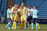 Tempers get flared as Millwall FC midfielder Shaun Williams (6) is sent off and receives a red card  during the Sky Bet League 1 match between Coventry City and Millwall at the Ricoh Arena, Coventry, England on 16 April 2016. Photo by Simon Davies.