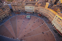 Europe, Italy, Siena, Piazza del Campo, viewed from above