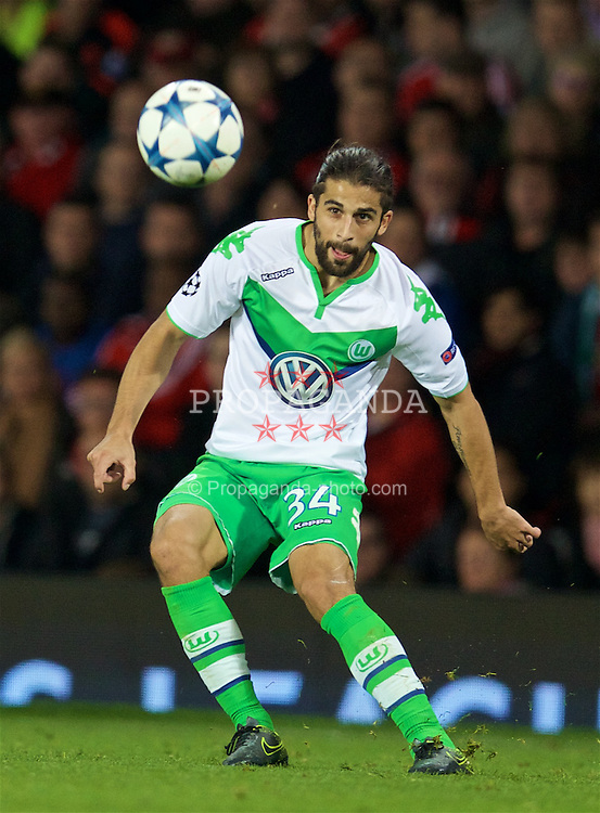 MANCHESTER, ENGLAND - Wednesday, September 30, 2015: VfL Wolfsburg's Ricardo Rodriguez in action against Manchester United during the UEFA Champions League Group B match at Old Trafford. (Pic by David Rawcliffe/Propaganda)