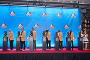 Aug 3, 2019; Canton, OH, USA; Class of 2019 inductees pose with busts during the Pro Football Hall of Fame Enshrinement at Tom Benson Hall of Fame Stadium. From left: Johnny Robinson, Kevin Mawae, Tony Gonzalez, ed Reed, Ty Law, Champ Bailey and Beth Bowlen and Brittany Bowlen (Pat Bowlen). (Robin Alam/Image of Sport)