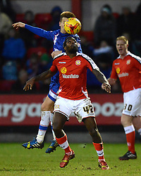 Crewe's Anthony Grant  competes with Gillingham's Jake Hessenthaler- Photo mandatory by-line: Richard Martin-Roberts - Mobile: 07966 386802 - 10/01/2015 - SPORT - Football - Crewe - Alexandra Stadium - Crewe Alexandra v Gillingham - Sky Bet League One