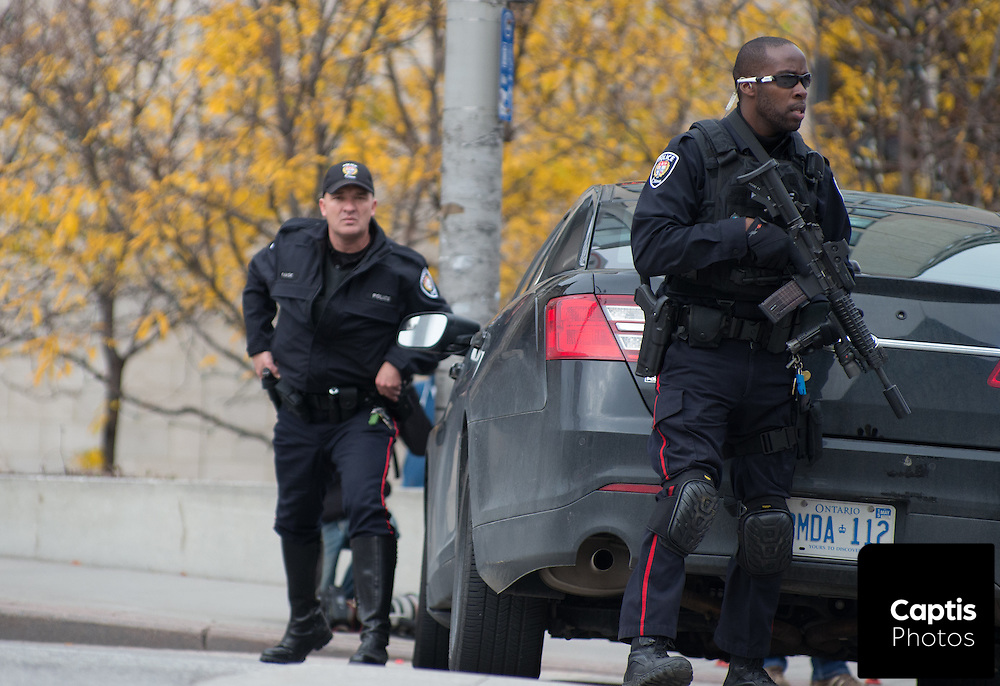Ottawa police outside the Rideau Centre which was placed on lockdown following the shooting of Cpl. Nathan Cirillo. October 22, 2014.