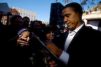 U.S. Senator Barack Obama (D-ILL) shakes hands with supporters after speaking with Wisconsin Governor Jim Doyle at a campaign for a get out the vote rally a week before the elections Tuesday Oct. 31, 2006 Milwaukee.  photo by Darren Hauck..................