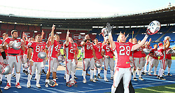 15.07.2011, Ernst Happel Stadion, Wien, AUT, American Football WM 2011, Austria (AUT) vs Australia (AUS), im Bild team austria after the win, Christoph Putz (Austria, #28, DB) in front // during the American Football World Championship 2011 game, Austria vs Australia, at Ernst Happel Stadion, Wien, 2011-07-15, EXPA Pictures © 2011, PhotoCredit: EXPA/ T. Haumer