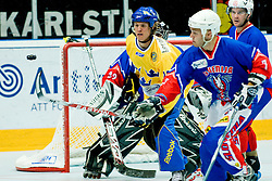 Puck flying to Slovenia's goal at Game 8 of IIHF In-Line Hockey World Championships Top Division Group match between National teams of Sweden and Slovenia on June 29, 2010, in Karlstad, Sweden. (Photo by Matic Klansek Velej / Sportida)