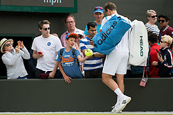 LONDON, ENGLAND - Wednesday, July 6, 2016:   Tomas Berdych (CZE) after winning  the Gentlemen's Single Quarter Final match on day ten of the Wimbledon Lawn Tennis Championships at the All England Lawn Tennis and Croquet Club. (Pic by Kirsten Holst/Propaganda)