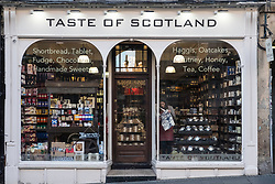 Taste of Scotland shop selling food and other products produced in Scotland  in Old Town of Edinburgh, Scotland, United Kingdom.