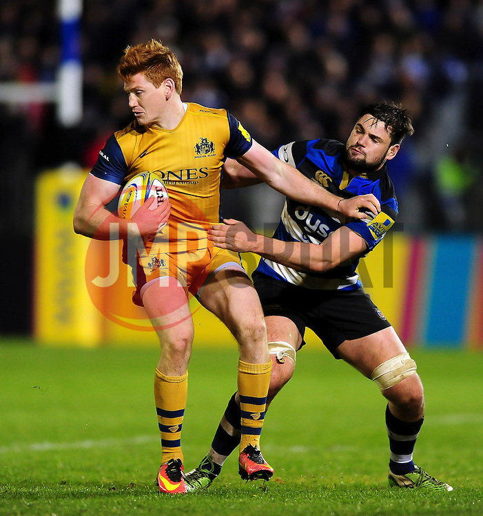 Jack Tovey of Bristol Rugby fends Elliott Stooke of Bath Rugby - Mandatory byline: Patrick Khachfe/JMP - 07966 386802 - 18/11/2016 - RUGBY UNION - The Recreation Ground - Bath, England - Bath Rugby v Bristol Rugby - Aviva Premiership.
