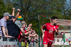 NEWTOWN, WALES - Sunday, May 6, 2018: Michael Wilde of Conahs Quay Nomads celebrates scoring his sides third goal during the FAW Welsh Cup Final between Aberystwyth Town and Connahs Quay Nomads at Latham Park. (Pic by Paul Greenwood/Propaganda)