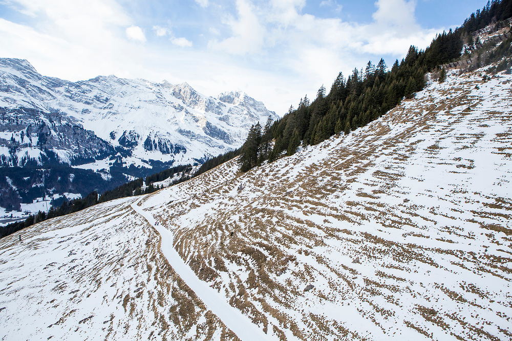 during stage 2 and 3 of the first Snow Epic, the ascent and decent of Brunni H&uuml;tte near Engelberg, in the heart of the Swiss Alps, Switzerland on the 16th January 2015<br /> <br /> Photo by:  Nick Muzik / Snow Epic / SPORTZPICS