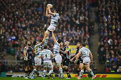 London Irish Lock (#4) Bryn Evans wins a lineout during the first half of the match - Photo mandatory by-line: Rogan Thomson/JMP - Tel: Mobile: 07966 386802 29/12/2012 - SPORT - RUGBY - Twickenham Stadium - London. Harlequins v London Irish - Aviva Premiership - LV= Big Game 5.