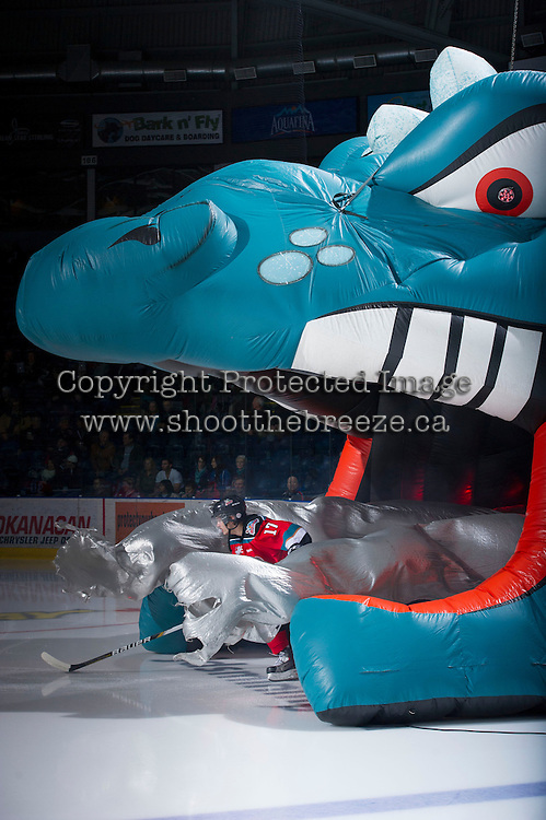 KELOWNA, CANADA - DECEMBER 8:  JT Barnett #17 of the Kelowna Rockets enters the ice against the Prince George Cougars at the Kelowna Rockets on December 8, 2012 at Prospera Place in Kelowna, British Columbia, Canada (Photo by Marissa Baecker/Shoot the Breeze) *** Local Caption ***