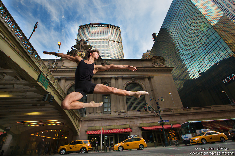 Grand Central 42nd Street Leap- Dance As Art photo shoot featuring dancer Andy Jacobs